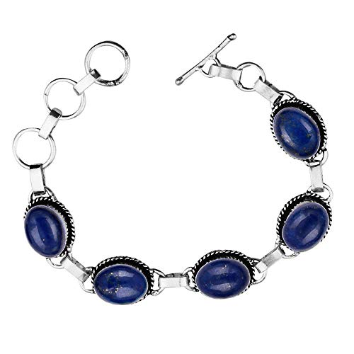 - Genuine Oval Shape Lapis Link Five Stone Bracelet 925 Silver Overlay Handmade Vintage Bohemian Style Jewelry for Women Girls