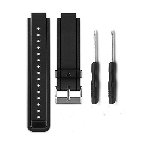 Allrun 1PC Replacement Silicone Bands With 2PCS Pin Removal Tools for Garmin Vivoactive (No tracker, Replacement Bands Only) (Black)