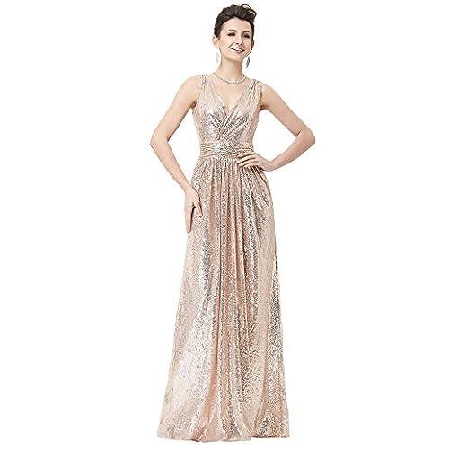 Kate Kasin Long V Neck Sequin Evening Dress Plus Size Prom Dress Rose Gold Size 12 KK199