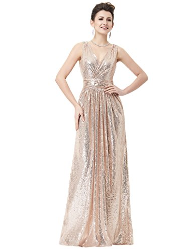 Kate Kasin Long V Neck Sequin Evening Dress Plus Size Prom Dress Rose Gold Size 12 KK199 by Kate Kasin