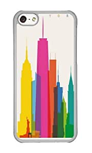 Apple Iphone 5C Case,WENJORS Cute Shapes of NYC Accurate to scale Hard Case Protective Shell Cell Phone Cover For Apple Iphone 5C - PC Transparent