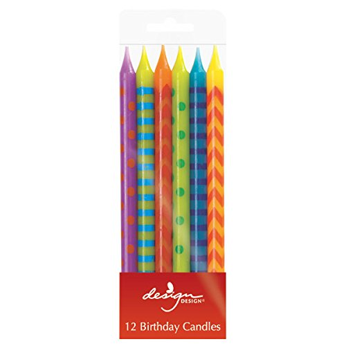 Design Design Hooray Stripes Stick Candles, Multicolor