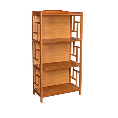Cherry Antique Bookcase Cabinet - Antique Large Capacity Vertical Bamboo Bookshelf Bookcase Combination Household Floor Storage Rack Office File Divider Display Cabinet (Size : 3 Tiers)