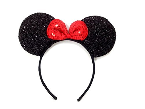 MeeTHan Mickey Mouse Minnie Mouse Ears Black Headbands Sparking Black Red: M1 (Black) - Mayo Jar Costume