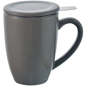 GROSCHE Kassel Tea Infuser Mug / Teacup with Stainless Steel Infuser, 330ml/11.2 oz, grey