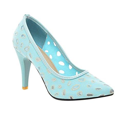 MissSaSa Damen Pointed Toe high-heel hollow out Pumps elegant und bequem Trichterabsatz Spitze Kleid/Büroschuhe Blau
