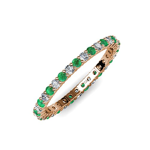 Emerald & Diamond (SI2-I1, G-H) Shared Prong Eternity Band 0.77 ct tw to 0.94 ct tw in 14K Rose Gold.size 8.5 (Emerald Cut Ct Diamond 0.77)