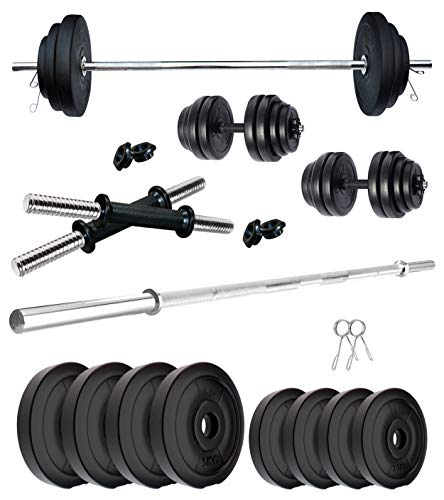 Kore PVC 20-50 Kg Home Gym Set with One 4 Feet Plain and One Pair Dumbbell Rods
