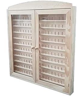 Vitrina colecciones dedales. 2 puertas. Capacidad: 144 dedales. Medidas (ancho/fondo/alto): 60 * 6 * 54 cms. En madera de pino en crudo. Para pintar.: Amazon.es: Hogar