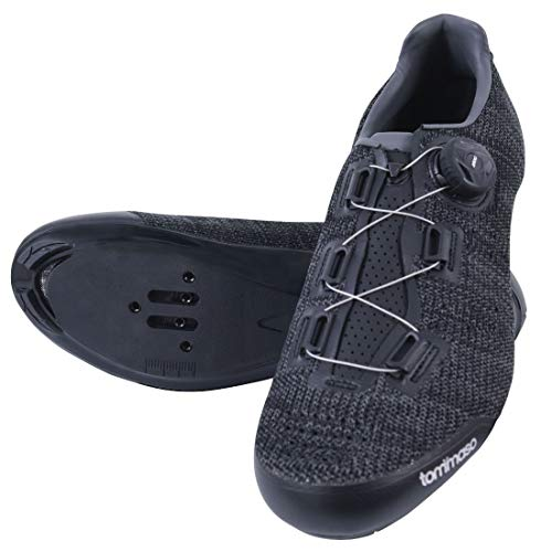 Tommaso Strada Elite Knit Quick Lace Style Road Bike Cycling Shoe, Dual Compatible with SPD, Delta, Black