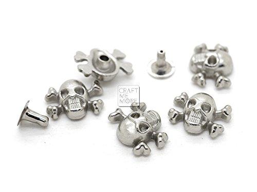 CRAFTMEmore SKULL Crossbone 3D Ghost Rivet Stud Punk Decorative Buttons for Bracelet Bag Leather Belt DIY Craft Making 14x12MM Pack of 10 (Silver) (Skull Crossbones Leather)
