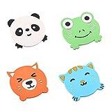 BESTONZON 4PCS Adorable Cartoon Animal Silicone Coasters/Cup Mats/Bowl Pads,Non-Slip,Insulation
