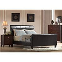 Faux Leather Bed in Dark Brown, King: 85 in. L x 82 in. W x 48 in. H (132 lbs.) 732261-OG-164828-O-851306
