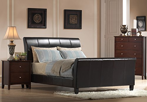 Queen Leather Sleigh - Faux Leather Bed in Dark Brown, Queen: 85 in. L x 64 in. W x 49 in. H (113 lbs.) 732261-OG-164828-O-851305