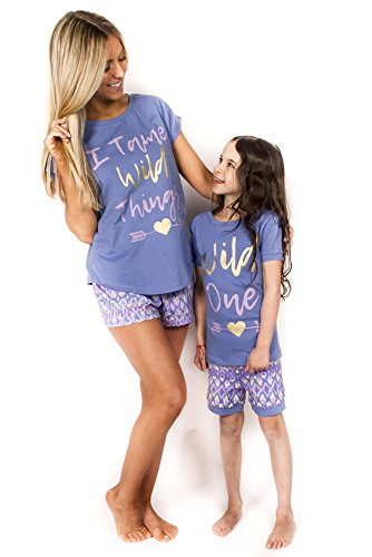 Peace Love & Dreams Mommy & Me Matching Wild Ones Pajamas -Blue (Girl, Girl 2T) -