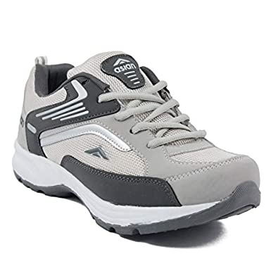 Asian Men's Light Grey & Dark Grey Running Shoes -9 UK