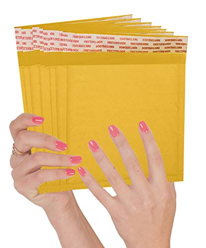25 Pack Kraft Padded envelopes 7.25 x 7 Bubble Mailers 7.25x7 Yellow Bubble envelopes Peel and Seal. Golden Cushion envelopes for Shipping, mailing, Packing. CD DVD Size envelopes in Bulk, Wholesale.