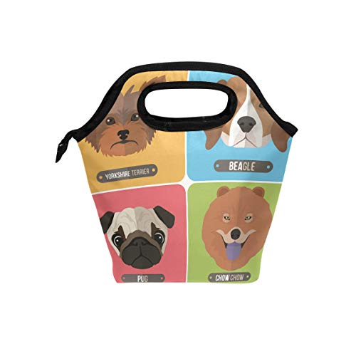 HEOEH Cute Dog Head Pug Chow Beagle Yorkshire Terrier Lunch Bag Cooler Tote Bag Insulated Zipper Lunch Boxes Handbag for Outdoors School -
