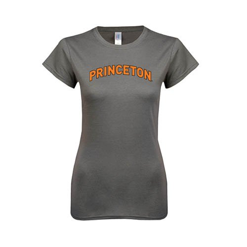 Princeton Ladies Softstyle Junior Fitted Charcoal Tee 'Arched Princeton'