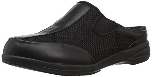 Propet Women's Washable Walker Slide Mule, Black Mesh, 8.5 2E US Leather Mesh Mules