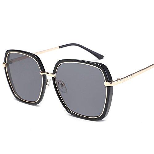 Sunyan Nouvelles lunettes de soleil Lunettes pour hommes, femmes de Corée du Sud, de la Corée du Sud les yeux miroir de la personnalité d'encre star 9091,Black frame blue film