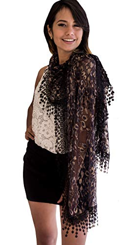 Cindy and Wendy Lightweight Soft Leaf Lace Fringes Scarf shawl for Women (Gold/Black)