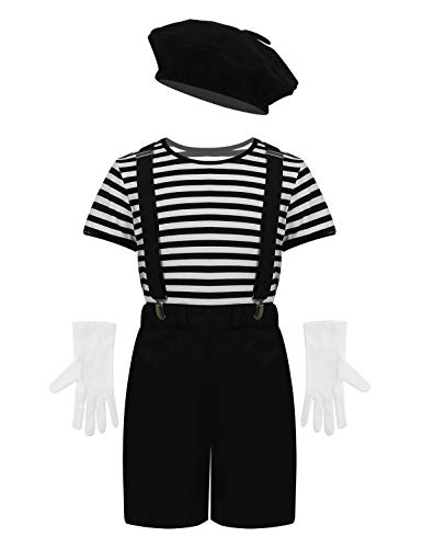Mime Halloween Outfit (iiniim Child Boys Girls French Mime Artist Costume French T-Shirt Beret Gloves Suspenders Outfit Halloween Cosplay Costume Black)
