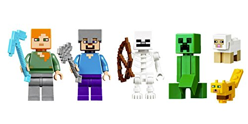 LEGO Minecraft Minifigures - Steve and Alex, plus a Creeper, skeleton, ocelot and a sheep from 21125. No Retail Packaging.