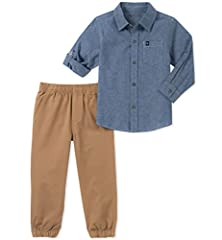 Let your little guy embrace Calvin Klein classically cool style with our two piece woven sets that you can mix and match for any occasion