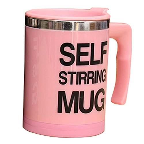 Auto Mixing coffee cup - TOOGOO(R) Stainless Electric Lazy Self Stirring Mug Auto Mixing Tea Coffee Cup Office Home Pink
