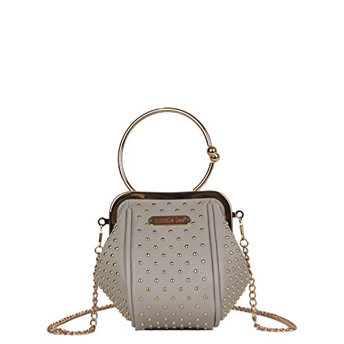 Mini Chain Handbag Featuring Kiss-Lock Wristlet Handle and Studded with Gold Accents [Gray]