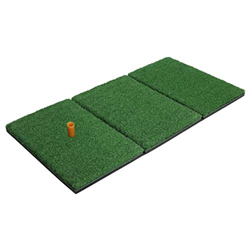 Milliard Golf Turf Grass Mat Foldable Practice Hitting Mat, Indoor and Outdoor Portable for Chipping, Putting Golf Practice and Training with Rubber Tee and Holder - 24x12 inches. (Grass Golf)