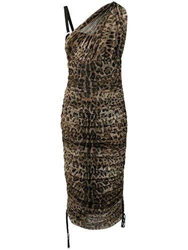 Dolce e Gabbana Luxury Fashion Woman F6D9YTFSEGZHY13M Brown Silk Dress | Season Outlet