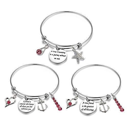3 Sets Silver Plated Stainless Steel Metal Engraved Motivational Friend Friendship Round Charm Pendant Adjustable Bracelets