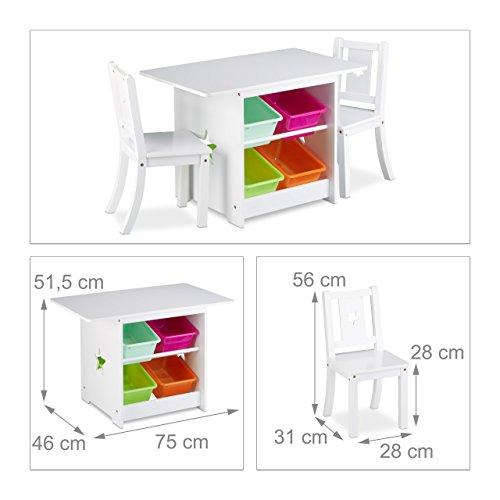 relaxdays ensemble table et chaises enfants en bois albus pour les filles et les garons table avec emplacement pour caisses de rangement blanc amazonfr