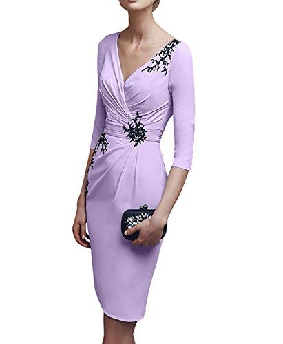 Brautmutterkleider Partykleider Damen Flieder Kurz Etuikleider V Knielang ausschnitt Abendkleider Charmant Flieder aWYwnR0Rgq