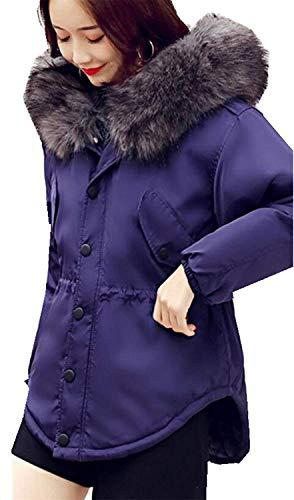 con Outerwear Imitación Manga Casual Outdoor Blau Acolchada De Piel Chaqueta Termica Chaqueta De Chaquetas Fiesta Larga Mujer Abrigos Capucha Espesar Invierno OaORPT8U