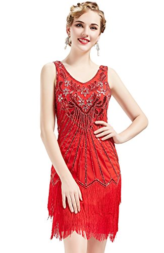 BABEYOND Women's Flapper Dresses 1920s V Neck Beaded Fringed Dress Great Gatsby Dress (Red, -