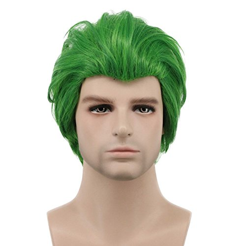 Karlery Men Short Straight Green Wig Halloween Cosplay Wig Anime Costume Wig -