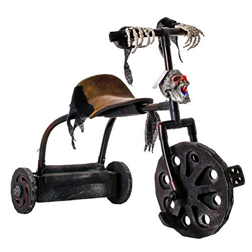 Halloween Haunters Animated Haunted Moving Speaking Ghost Skeleton Tricycle Prop Decoration that Speaks and the Skull Headlight Flashes in Multiple Colors - Scary Child's Trike Bike Horror House Party