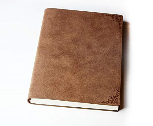 Hardbound Notebook/Notepad A5 Notebook with Pocket, 100 gsm cream paper,180° Lay Flat Design, Vegan Leather(Coffee)]()