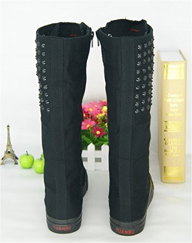with Black Shoes Flat Boots Zipper Students Side Shoes Zipper Canvas Boots Rivets Dancing Shoes All High xqfWw0R0Z