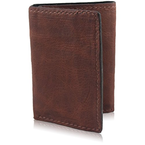Card Leather Handmade 9 Trifold Wallet Genuine Brown Brown Leather Genuine qz0YaO
