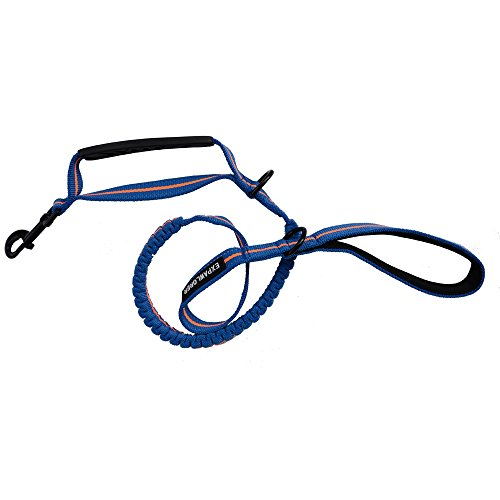 Picture of EXPAWLORER Best Outdoor Dog Training Leash Heavy Duty Double Handles Blue Soft Portable Reflective Extension Bungee Leashes for Medium to Large Dogs Walking, Training