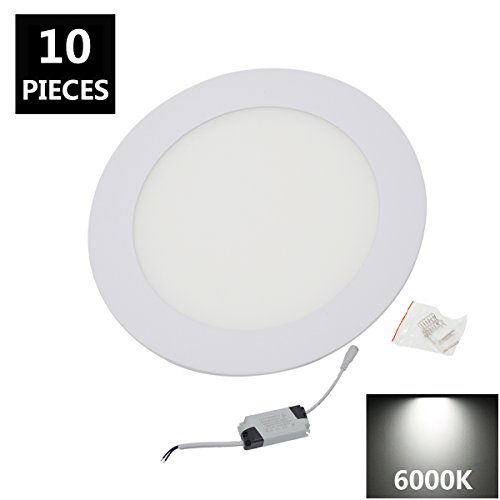 Flat Panel Aluminum (12W Flat LED Panel Light Lamp, Round Ultrathin LED Recessed Downlight, 1080lm, 6000K White, Cut Hole 6.1 Inch, Panel Ceiling Lighting with 110V 120V LED Driver)