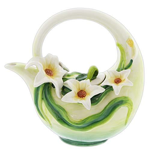 White Magnolias Ceramic Tea Pot