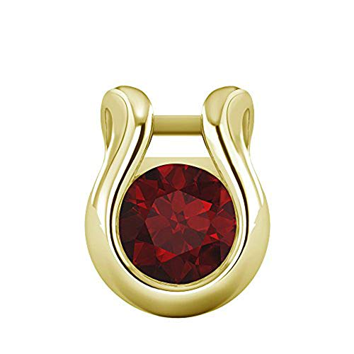 OMEGA JEWELLERY 1/2 Ct Round Cut Gemstone Solitaire Bezel Set Pendant in Solid 10K Yellow Gold for Valentine's Day (Ruby) ()