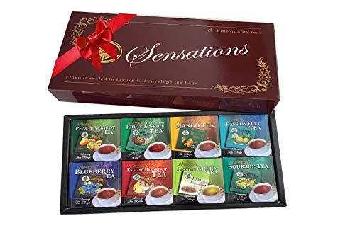 Mlesna Sensations 8 Flavored Tea Selection - Peach Apricot, Fruit and Spice, Mango, Passion Fruit, Blueberry, Jasmine, English Breakfast, Soursop - 80 Pack Gift Box ()