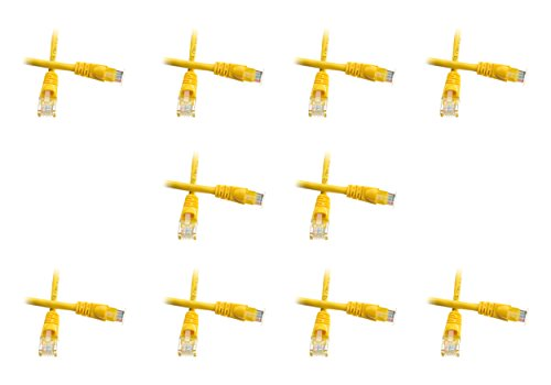20 Foot Cat5e Snagless/Molded Boot Yellow Ethernet Patch Cable, 10-Pack (CNE53056)