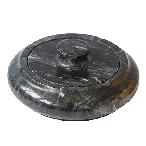 Gnirue Natural Marble Stone Ashtray with Lid for Living Room Coffee Table (Black)